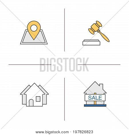 Real estate market color icon. Building location, house for sale, gavel, three houses. Isolated vector illustration