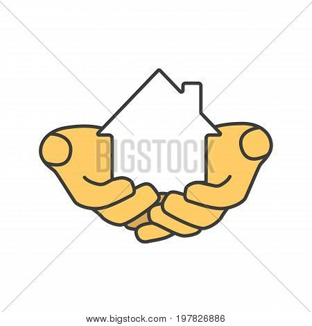 House in hands color icon. Home loan. Real estate insurance. Realty investment. Isolated vector illustration
