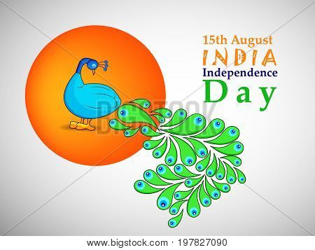 illustration of peacock with 15th August India Independence Day text on the occasion of India Independence day