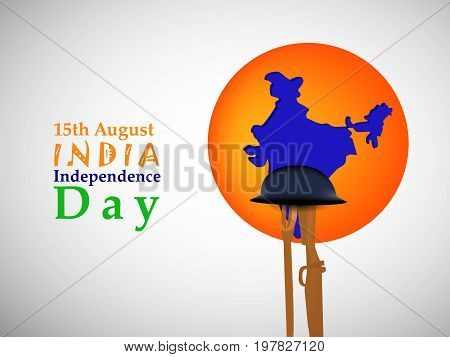 illustration of elements of rifle, hat, gun, map with 15th August India Independence Day text on the occasion of India Independence day