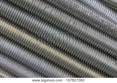 Long Steel Screws Thread Background