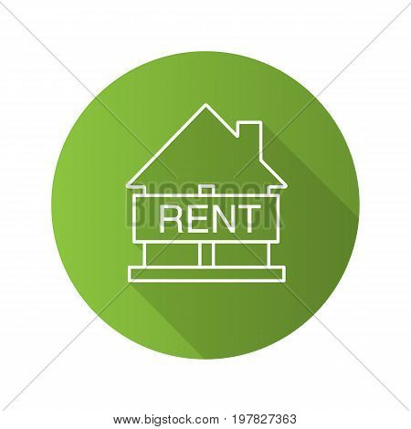 House for rent flat linear long shadow icon. Rental property. Vector outline symbol