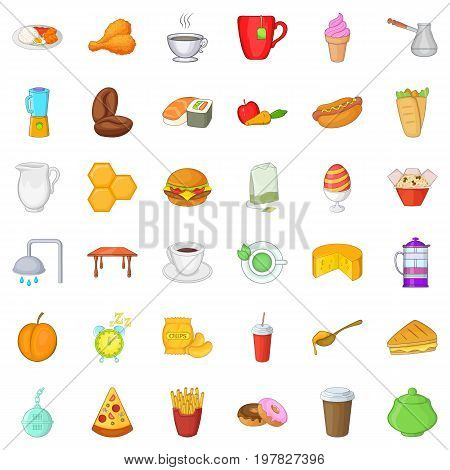 Tasty breakfast icons set. Cartoon style of 36 tasty breakfast vector icons for web isolated on white background