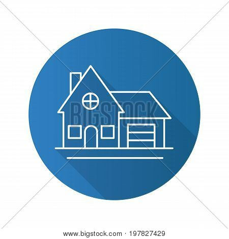 Cottage flat linear long shadow icon. Family house. Residence. Vector outline symbol