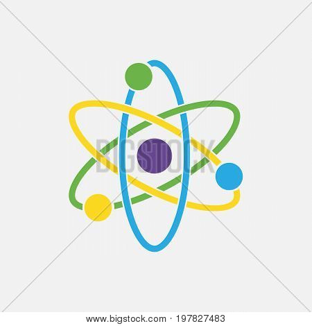 Atom icon. Nuclear icon. Electrons and protons. Science sign. Molecule Icon isolated on grey background. Vector illustration. Eps 10.