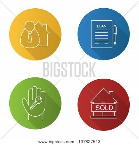 Real estate flat linear long shadow icons set. Broker, hand with key, sold house, loan. Vector outline illustration