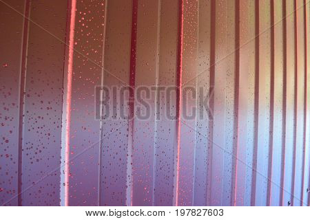 Metal Profile. Diagonal Pattern Of Metal Profile. Fences From The Galvanized Iron Painted By A Polym
