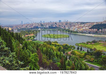 Panoramic view of Golden Horn from Eyup-Pierre Loti Point in Istanbul city Turkey