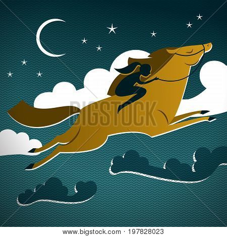 Wild brown horse composition with moon and starry sky with horse in the foreground vector illustration