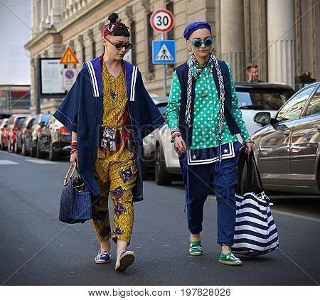 MILAN- 18 June 2017 Anna e Laura Facchini on the street during the Milan Fashion Week