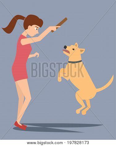 teenager girl training dog - funny vector cartoon illustraation