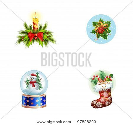 Christmas symbols icon set. Candle with bow on Christmas tree Mistletoe with snow Snowman in snowball Christmas sock with candy canes