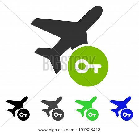 Airplane Key flat vector icon. Colored airplane key gray black blue green pictogram versions. Flat icon style for graphic design.