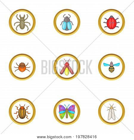 Colorful insects icons set. Cartoon set of 9 colorful insects vector icons for web isolated on white background
