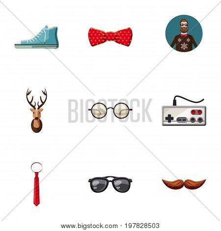 Man things icons set. Cartoon set of 9 man things vector icons for web isolated on white background