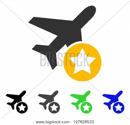 Airplane Rating flat vector icon. Colored airplane rating gray black blue green pictogram versions. Flat icon style for application design.
