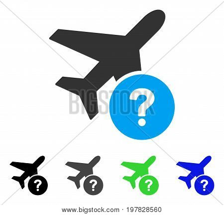 Airplane Status flat vector pictograph. Colored airplane status gray black blue green icon versions. Flat icon style for web design.