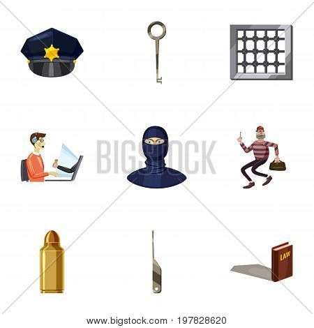 Crime icons set. Cartoon set of 9 crime vector icons for web isolated on white background