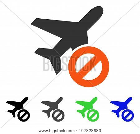 Airport Closed flat vector pictograph. Colored airport closed gray black blue green pictogram versions. Flat icon style for web design.