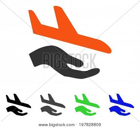 Aviation Support Hand flat vector illustration. Colored aviation support hand gray black blue green pictogram variants. Flat icon style for web design.