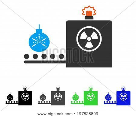 Bomb Airport Control flat vector illustration. Colored bomb airport control gray black blue green pictogram variants. Flat icon style for graphic design.