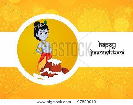 illustration of hindu god Krishna with Happy Janmashtami text on the occasion of birth of hindu god Krishna