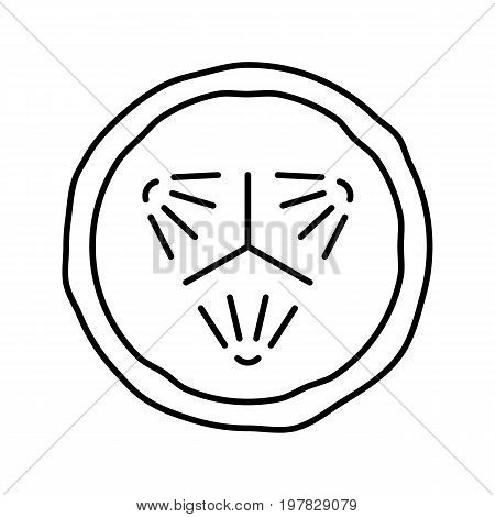 Cucumber slice linear icon. Thin line illustration. Cucumber facial mask contour symbol. Vector isolated outline drawing
