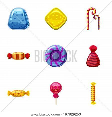 Colorful candy icons set. Cartoon set of 9 colorful candy vector icons for web isolated on white background