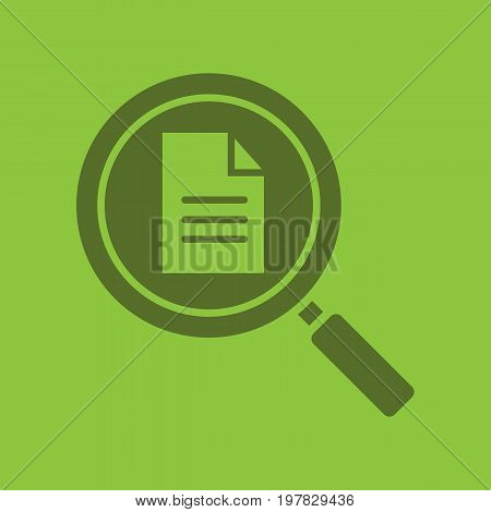 Document search glyph color icon. Silhouette symbol. Magnifying glass with text document. Negative space. Vector isolated illustration