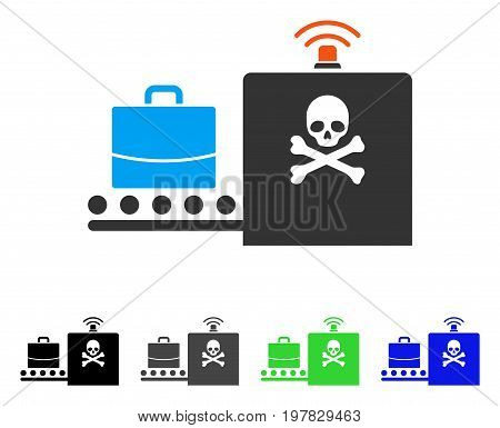 Luggage Airport Control flat vector pictogram. Colored luggage airport control gray black blue green pictogram versions. Flat icon style for graphic design.