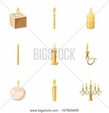 Candles flames icons set. Cartoon set of 9 candles flames vector icons for web isolated on white background