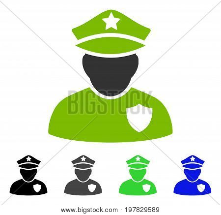 Police Officer flat vector pictograph. Colored police officer gray black blue green pictogram versions. Flat icon style for application design.