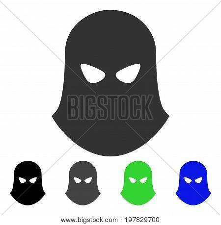 Terrorist Balaklava flat vector pictogram. Colored terrorist balaklava gray black blue green pictogram variants. Flat icon style for application design.