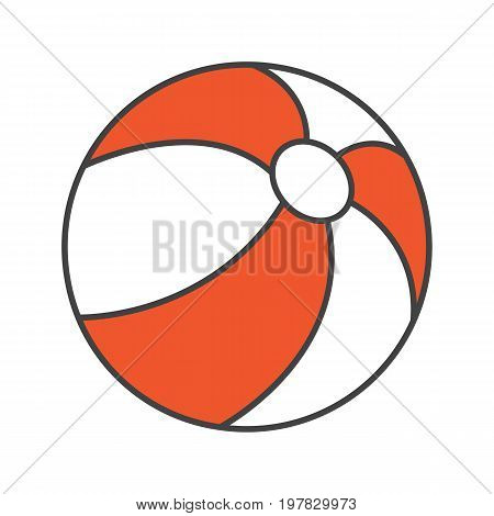 Beach ball color icon. Isolated vector illustration