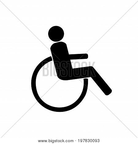 Disabled sign. Mark disability. Icon a place open passage. Symbol paralyzed and human on wheelchair. Safety person warning handicapped illustration. Design element. Vector illustration