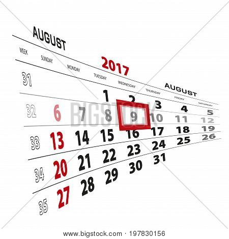 August 9, Highlighted On 2017 Calendar. Week Starts From Sunday.
