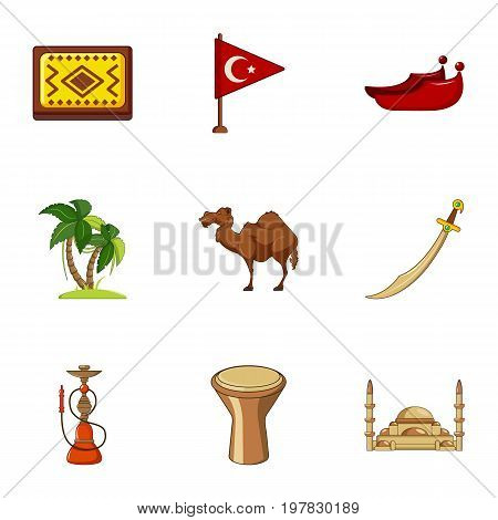 Turkey things icons set. Cartoon set of 9 turkey things vector icons for web isolated on white background
