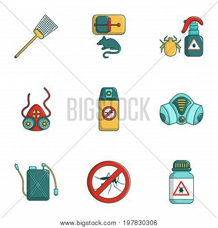 Insect control icons set. Cartoon set of 9 insect control vector icons for web isolated on white background