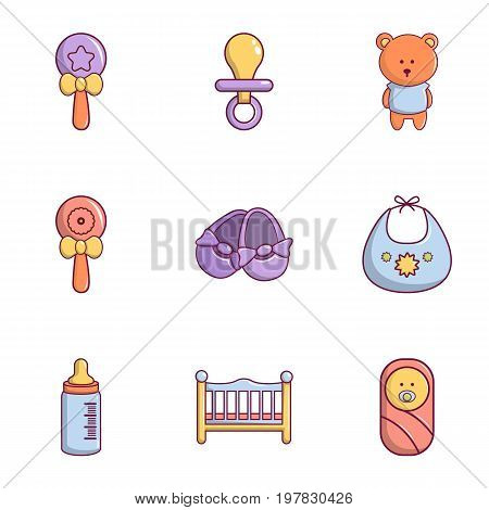 Newborn baby icons set. Flat set of 9 newborn baby vector icons for web isolated on white background