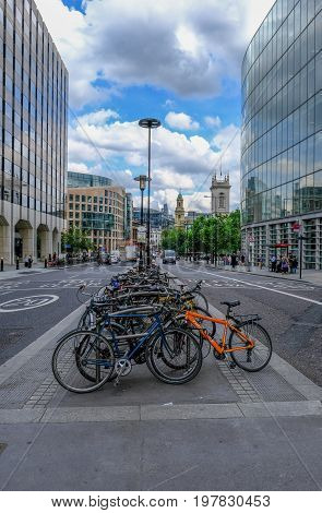 London UK -May 31 2017: Lots of bicycles parked on High Holborn London.