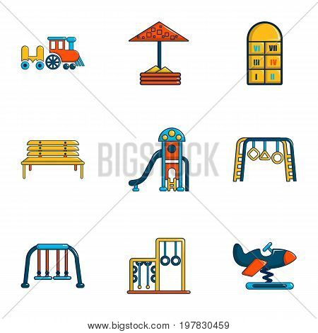 Outdoor entertainment icons set. Flat set of 9 outdoor entertainment vector icons for web isolated on white background