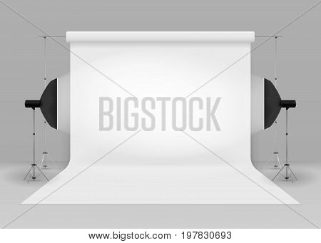 Empty photo studio with lighting equipment. 3d studio setup with white background. isolated on grey background. Vector illustration. Eps 10.