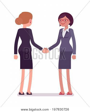 Business female partners handshaking, wearing office blazer, classic pencil skirt, meeting people the first time. Polite, friendly. Vector flat style cartoon illustration, isolated, white background