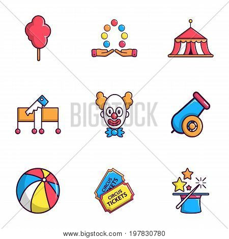 Circus show icons set. Flat set of 9 circus show vector icons for web isolated on white background