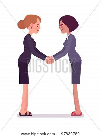 Business female partners handshaking with both hands, wearing office blazer and classic pencil skirt. Polite and friendly gesture. Vector flat style cartoon illustration, isolated, white background