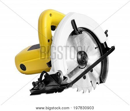 Power Tools circular saw on white background