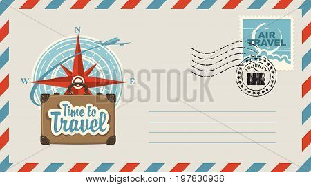 Postal envelope with stamp and rubber stamp. Illustration on the theme of travel with a suitcase passenger plane against the backdrop of the compass Windrose and the inscription Time to travel