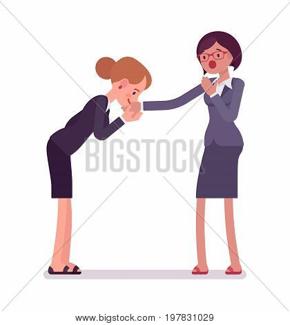 Business female hand kiss gesture, wearing office blazer and classic pencil skirt, element of respect. Polite friendly gesture. Vector flat style cartoon illustration, isolated, white background