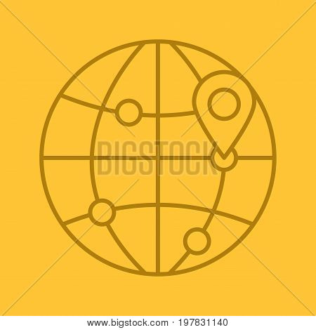 Flight destinations linear icon. Worldwide travel locations. Globe model with route points and map pinpoint. Thin line outline symbols on color background. Vector illustration