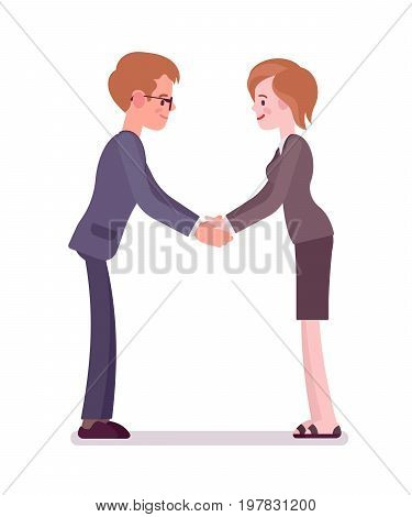 Business female partners handshaking with both hands. Social etiquette and companys culture. Office protocol concept. Vector flat style cartoon illustration, isolated, white background